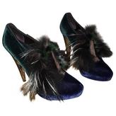 Fendi Green Velvet Heels