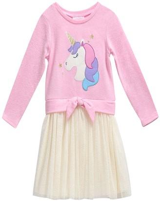 Youngland Girls 4-6x Unicorn Sweatshirt Tulle Dress