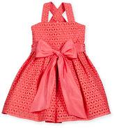 Helena Sleeveless Cross-Back Eyelet Dress, Coral, Size 7-10