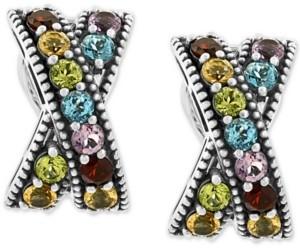 Effy Multi-Gemstone Crisscross Curved Drop Earrings (3-1/5 ct. t.w.) in Sterling Silver