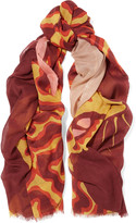 Stella McCartney Printed wool, silk and cashmere-blend scarf