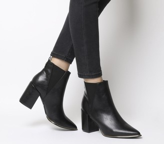 Office Amazing Block Heel Point Ankle Boots Black Gold Hardware