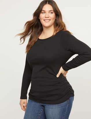 Lane Bryant Ribbed Boatneck Ruched Side Tee