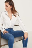 Dynamite Button Down Blouse with Contrasting Details