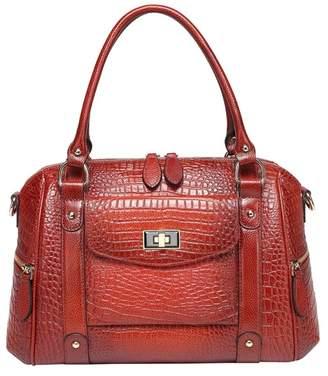 Vicenzo Leather Lane Croc Embossed Leather Shoulder Bag