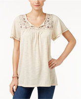 Style&Co. Style & Co. Petite Embroidered Split-Neck Top, Only at Macy's