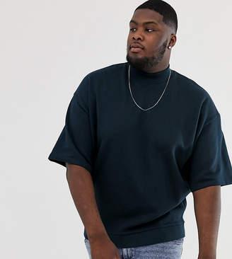 Asos Design DESIGN Plus short sleeve oversized turtleneck sweatshirt in navy