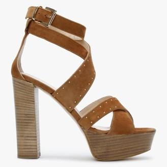 Daniel Adia Tan Suede Studded Platform Sandals