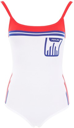 Prada Jacquard Logo One-Piece Swimsuit