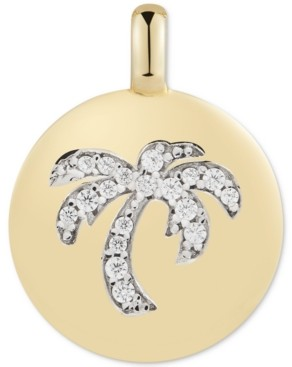 """CHARMBAR Swarovski Zirconia Palm Tree """"Good Vibes Only"""" Reversible Charm Pendant in 14k Gold-Plated Sterling Silver"""