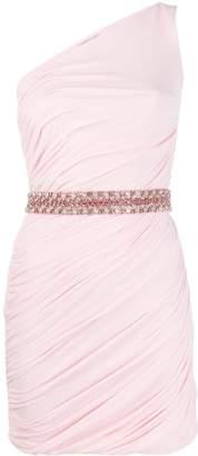 Roberto Cavalli ruched one-shoulder belted dress