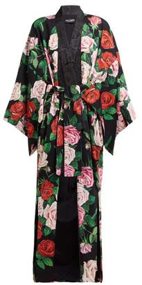 Dolce & Gabbana Rose-print Silk-blend Crepe Coat - Womens - Black Multi