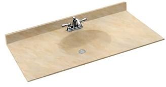 "Swan Chesapeake Solid Surface 61"" Single Bathroom Vanity Top Top Finish: Golden Steppe"