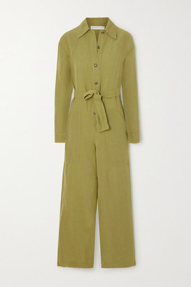 Etro Linen-blend Jumpsuit - Army green