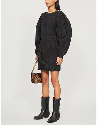 Ganni Puffed-sleeve recycled-polyester shell shift dress