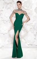 Tarik Ediz Sheer High Neckline Evening Gown 92486