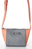Neiman Marcus Orange Gray Leather Silver Accent Small Shoulder Handbag