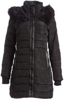 XOXO Black Long Faux Fur Trim Puffer Coat