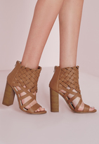 Missguided Woven Ankle Cuff Heeled Sandals Tan