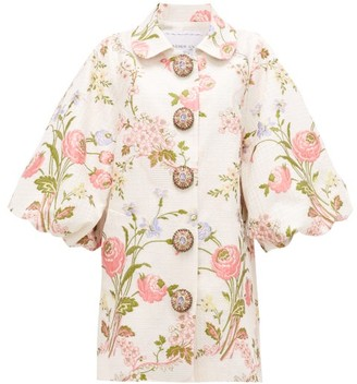 Andrew Gn Bubble-sleeve Floral-jacquard Opera Coat - White Multi