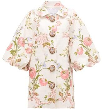 Andrew Gn Bubble-sleeve Floral-jacquard Opera Coat - Womens - White Multi