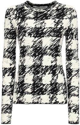 Proenza Schouler White Label Gingham Knit Cotton Blend Top