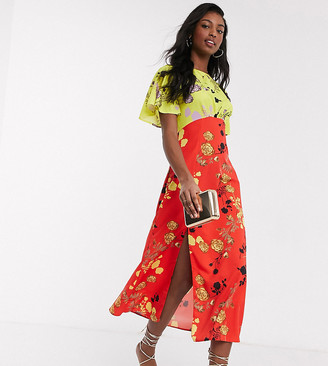John Zack Tall midaxi dress in multi floral print