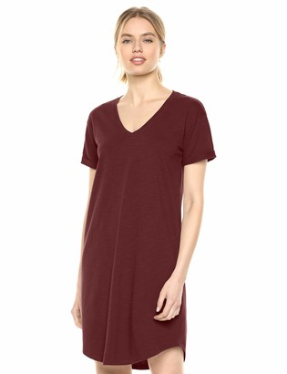 Daily Ritual Amazon Brand Women's Lived-in Cotton Roll-Sleeve V-Neck T-Shirt Dress