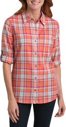 Dickies Women's Plus-Size Plaid Quarter Sleeve Roll Up Shirt