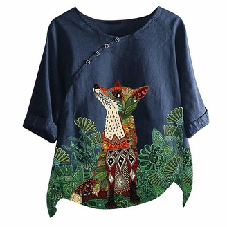 jieGorge Blouses for Women Women's Loose Cotton and Linen Animal Print O-Neck T-Shirt Blouse Tops