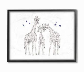 """Stupell Industries Giraffe Family Graphite Drawing Framed Giclee Art, 16"""" x 20"""""""