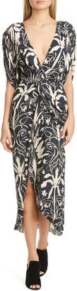 Johanna Ortiz Floral Print V-Neck Midi Dress