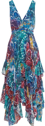 Alice + Olivia Ilia Asymmetric Ruffled Tie-dyed Georgette Midi Dress