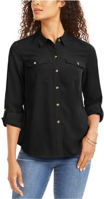 Charter Club Petite Solid Button-Up Shirt