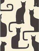 Sanderson Omega Cats Wallpaper, Ivory / Black, 211065