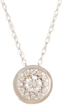 Candela 10K White Gold Round Halo CZ Necklace with Bezel