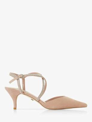 Dune Coby Embellished Cross Strap Mid Heel Court Shoes, Blush