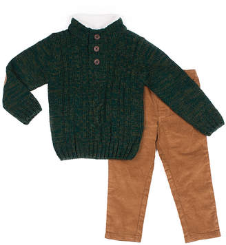 Little Lad Boys' Casual Pants GREEN - Green Button-Front Sweater & Brown Straight-Leg Pants - Toddler