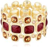 "T Tahari Roman Holiday"" Gold Bright Brown Stretch Bracelet"