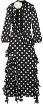 Gucci Ruffled Printed Silk-charmeuse Gown - Black