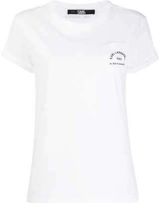 Karl Lagerfeld Paris logo-embroidered T-shirt