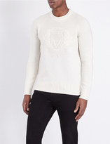 Burberry Embroidered crest wool jumper