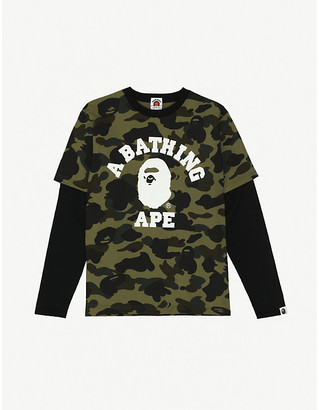 A Bathing Ape Branded camouflage-print layered cotton top 9-10 years