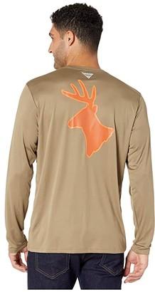 Columbia PHG Terminal Shot Graphic Long Sleeve Shirt (Flax/Whitetail) Men's T Shirt
