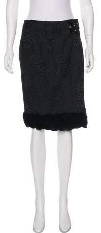 J. Mendel Fur Trimmed Knee-Length Skirt