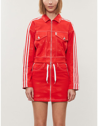 adidas x Fiorucci striped stretch-twill mini skirt