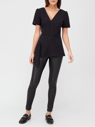 Very Asymmetric Structured Blouse - Black