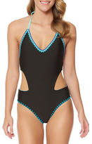 Jessica Simpson Woodstock Solids Reversible Cutout One-Piece