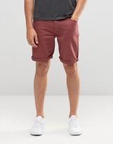 Asos Denim Shorts In Skinny Burgundy