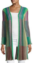 M Missoni Long Striped Plissé Cardigan, Multi